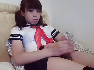 bored young ladyboy wanks off
